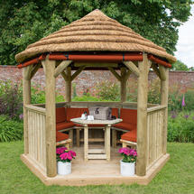 3m Hexagonal Gazebo with Thatch - Furnished Terracotta