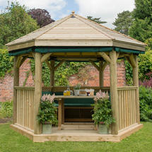3.6m Hexagonal Gazebo with Timber Roof - Furnished Green