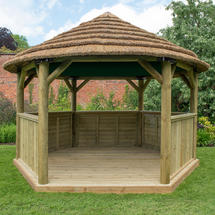 Hexagonal 4.0m Gazebo with Country Thatch Roof - With Lining