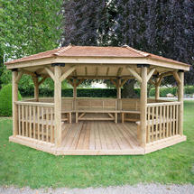 5.1m Oval Gazebo with Cedar Roof and Benches