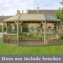 Oval 6.0m Gazebo with Traditional Timber Roof