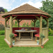 4m Hexagonal Gazebo with Thatched Roof - Furnished Terracotta