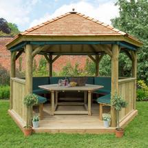 4m Hexagonal Gazebo with Cedar Roof - Furnished Green