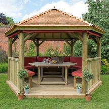4m Hexagonal Gazebo with Cedar Roof - Furnished Terracotta