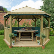 4m Hexagonal Gazebo with Timber Roof - Furnished Green
