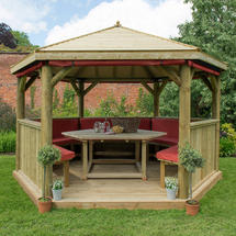 4m Hexagonal Gazebo with Timber Roof - Furnished Terracotta