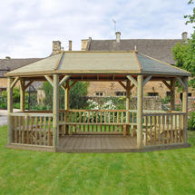 6m Oval Gazebo with Timber Roof and Benches