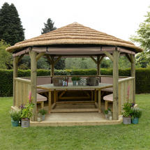 4.7m Hexagonal Gazebo with Thatched Roof - Furnished Cream
