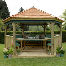 4.7m Hexagonal Gazebo with Cedar Roof - Furnished Green