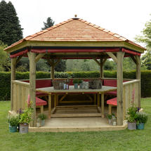 4.7m Hexagonal Gazebo with Cedar Roof - Furnished Terracotta