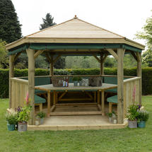 4.7m Hexagonal Gazebo with Timber Roof - Furnished Green