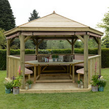 4.7m Hexagonal Gazebo with Timber Roof - Furnished Cream