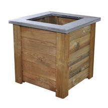Square Low Wooden Planter