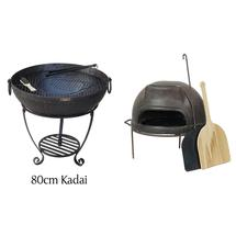 80cm Kadai Fire Bowl and Pizza Oven Set