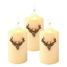 Stag Head pins for candles - set of 3