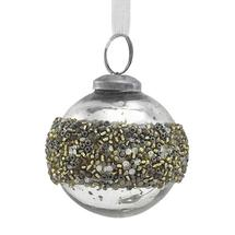 Gold Bead Ringed Bauble