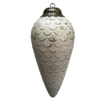 Antiqued White/Silver Fir Cone Bauble - Medium