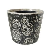 Vintage Pattened Plant Pot - Circle