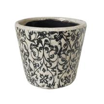Vintage Pattened Plant Pot - Leaf Scroll