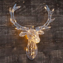 Stag Head Door Decoration- 60 Warm White LEDs