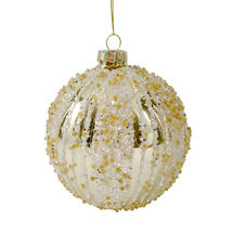Glass Bead Baubles - Silver with Gold