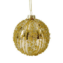 Glass Bead Baubles - Gold with Silver