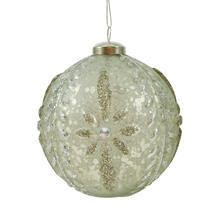 Glass Embossed Bauble - Simple Star