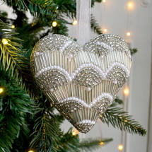 Gold Beaded Hanging Heart