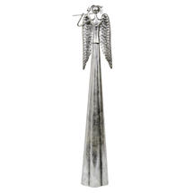 Tall Metal Silver Angel playing Flute