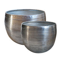 Planters in Aluminium Ribbed Finish - 2 x Medium
