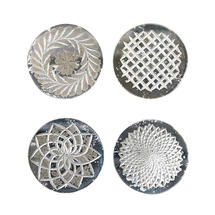 Antique Styled Etched Glass Coasters x 4