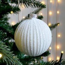 White Ribbed Bauble