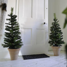 Pair of Faux LED Christmas Trees in Pots