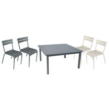 Craft Table - Storm Grey & 2 Linen Stackable Luxembourg Chairs + 2 Storm Grey Luxembourg Armchair