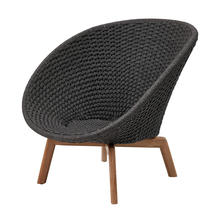 Peacock Rope Lounge Chair with Teak Legs - Dark Grey