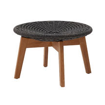 Peacock Rope Footstool with Teak Legs - Dark Grey