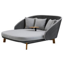 Peacock Daybed with Table - Light Grey Cushion Set