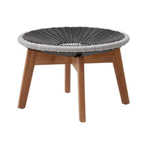 Peacock Footstool with Teak Legs - Grey/Light Grey