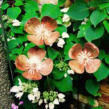 Copper Poppy Flower Stakes - Set of 3