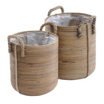 Rattan Planters with Rope Handles - Large