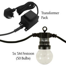 Extendable Warm White Clear Festoon Light Set -50 bulbs** + Transformer