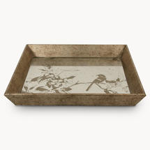 Aged Mirrored Square Tray with Bird Design