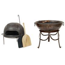 70cm Kadai Fire Bowl and Pizza Oven Set