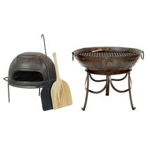 80cm Kadai Fire Bowl and Pizza Oven Set