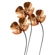 Copper Poppy Flower Stakes - Set of 3