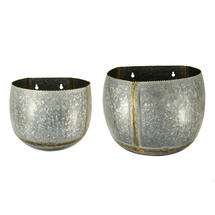 Zinc Oval Wall Planters - Set of 2