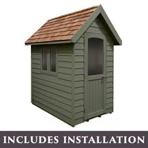Retreat Shed 6x4 - Painted Moss Green