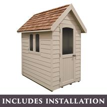 Retreat Shed 6x4 - Painted Natural Cream