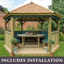 4m Hexagonal Gazebo with Cedar Roof - Furnished Green