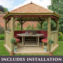4m Hexagonal Gazebo with Cedar Roof - Furnished Terracotta